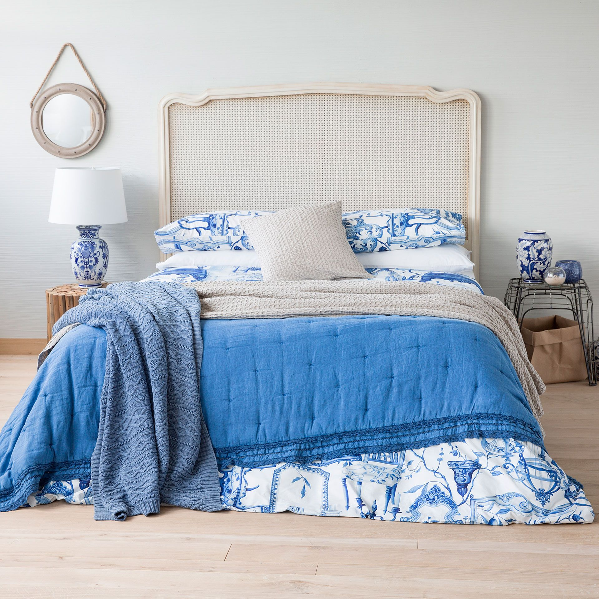Blue washed linen quilt with lace trim - Quilts - Bedroom ...