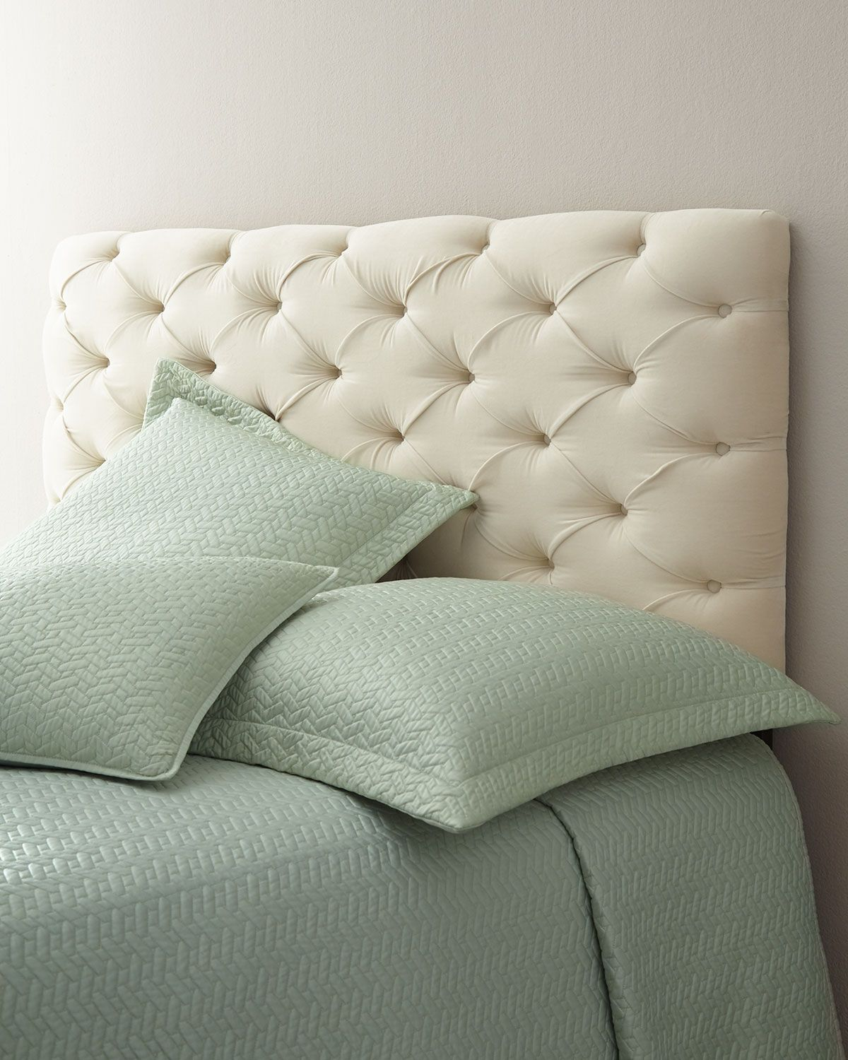 Low Leather Grid-Tufted Headboard   Simple bed frame, Tufted ...
