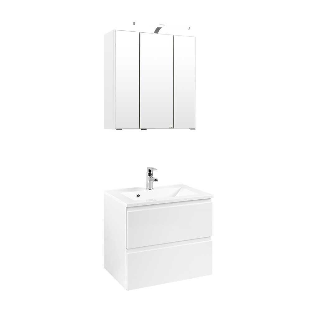 Ordentlich Badezimmer Set mit Waschtisch und Spiegelschrank Weiß Hochglanz (2  SV56