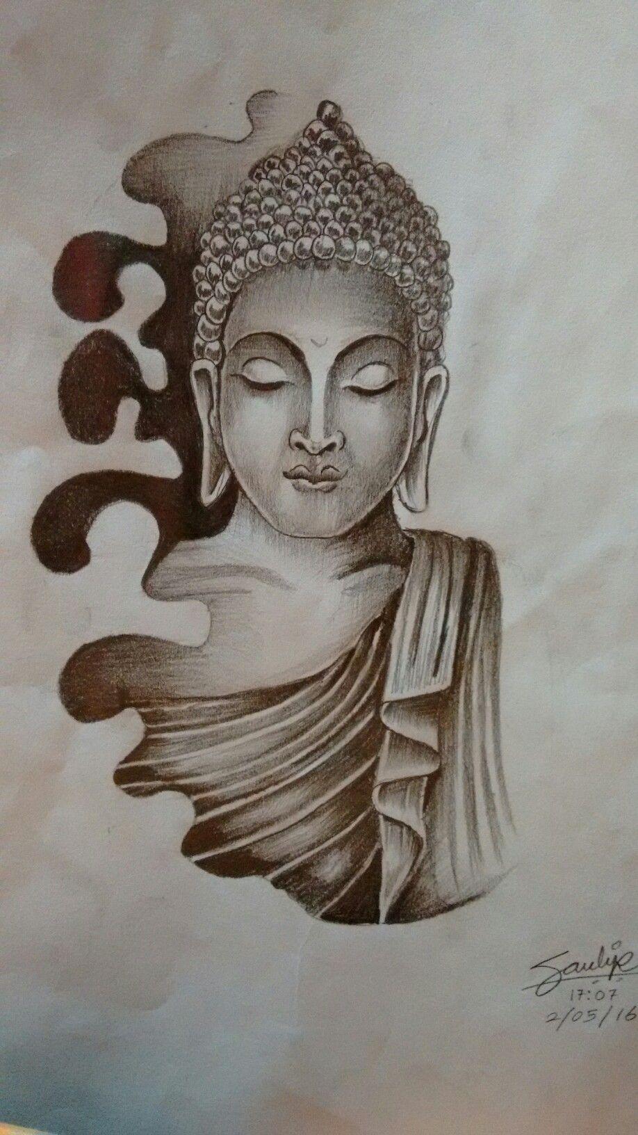 Lord buddha drawing by artist sandip