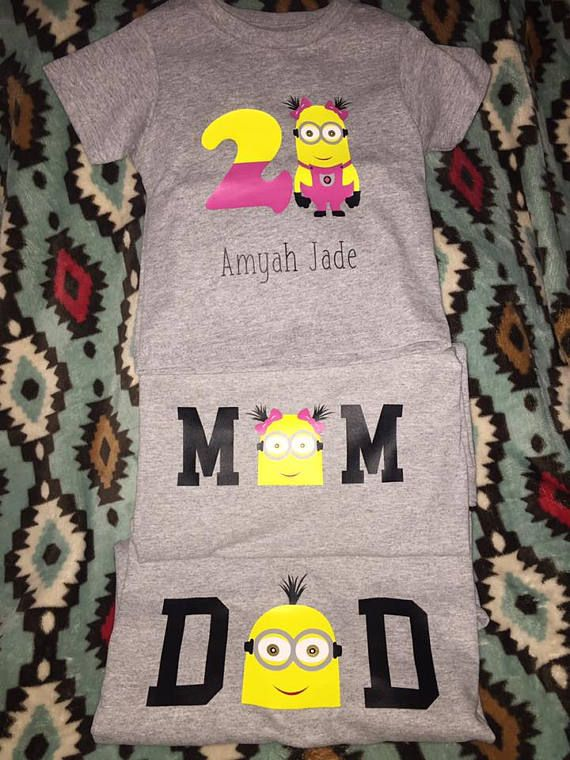 Personalized Minion Birthday Shirts Mom Shirt Dad Toddler