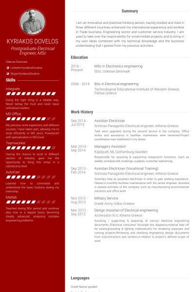 Assistan Electrician Exemple De Cv Resume Examples Resume Free Resume Examples
