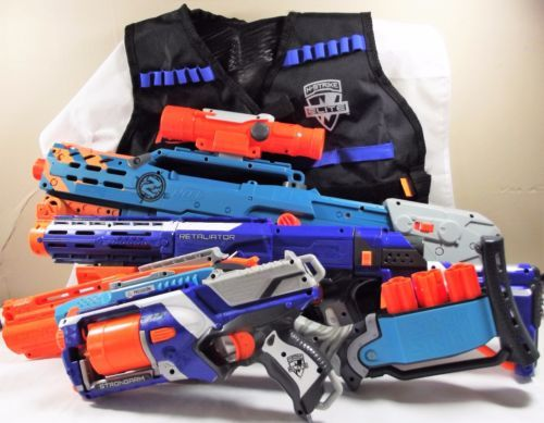 4-Nerf Gun Lot Barricade Stockade Fury Fire Zombie Strike Sledgefire Great  Working Condition