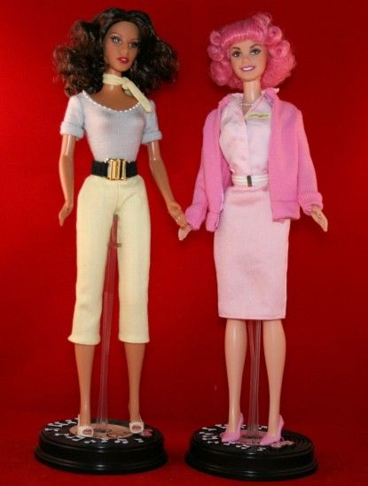 TOP BARBIE DOLL GREASE VINTAGE 50/'S STYLE FRENCHY PINK LONG SLEEVED SWEATER TOP