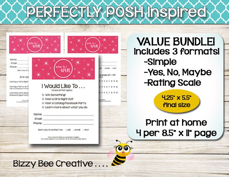 PERFECTLY POSH Enter to Win Sparkles Door Prize Drawing Slip - raffle ticket prizes