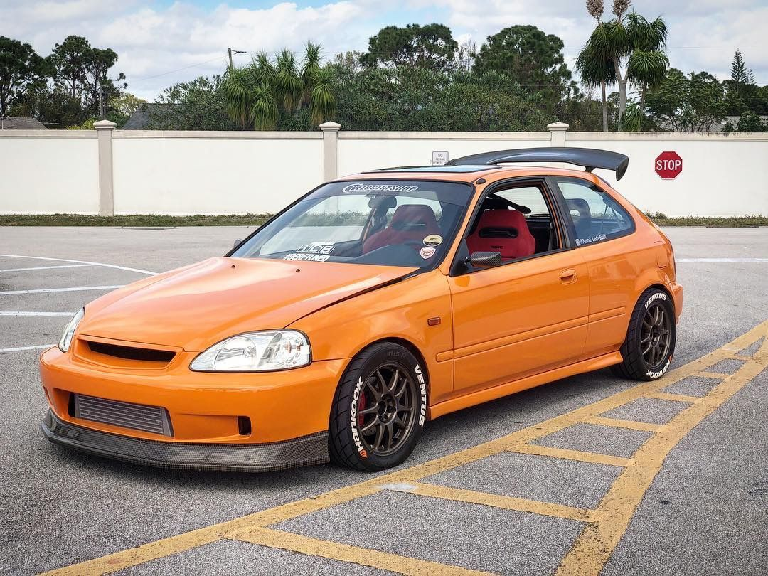 Orange Ek Hatchback Honda Civic Hatchback Honda Civic Vtec Civic Hatchback