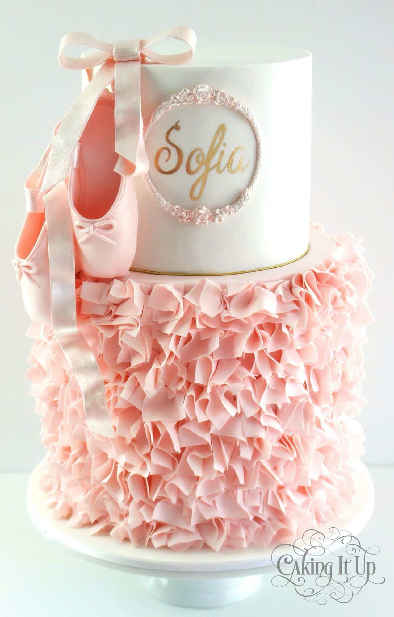 Awesome Cake With Ballet Shoes With Images Ballerina Birthday Parties Personalised Birthday Cards Paralily Jamesorg