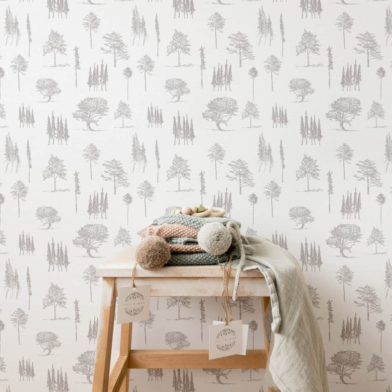 Minimal Design Forest Trees Removable Wallpaper In Grey White For Boho Inspired Ge Removable Wallpaper Nursery Removable Wallpaper Tree Removable Wallpaper