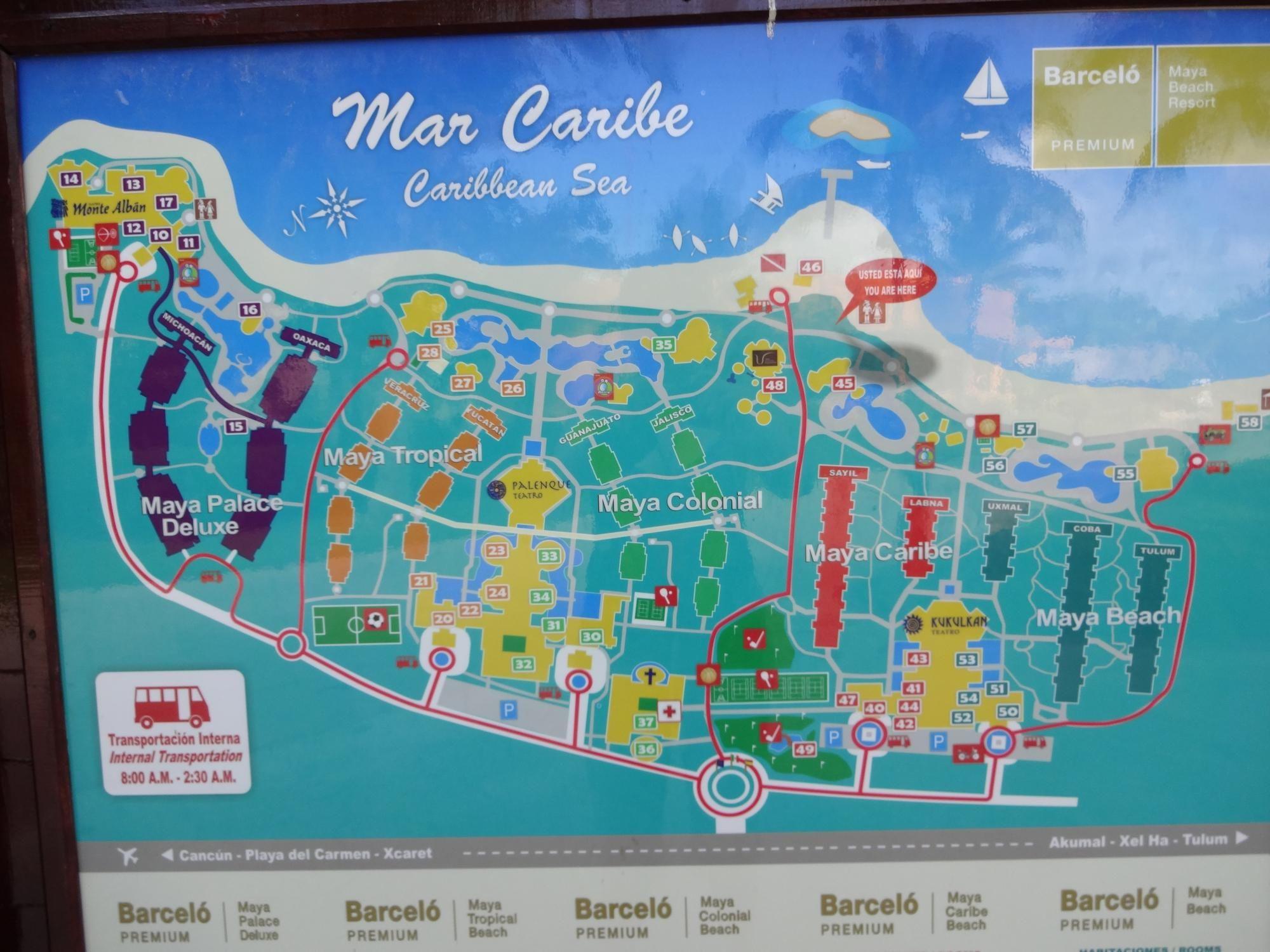 Barcelo Riviera Maya Resort Map