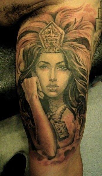 71e92656f Aztec Princess Tattoos 35 | Chorizo | Warrior tattoos, Aztec tattoo ...