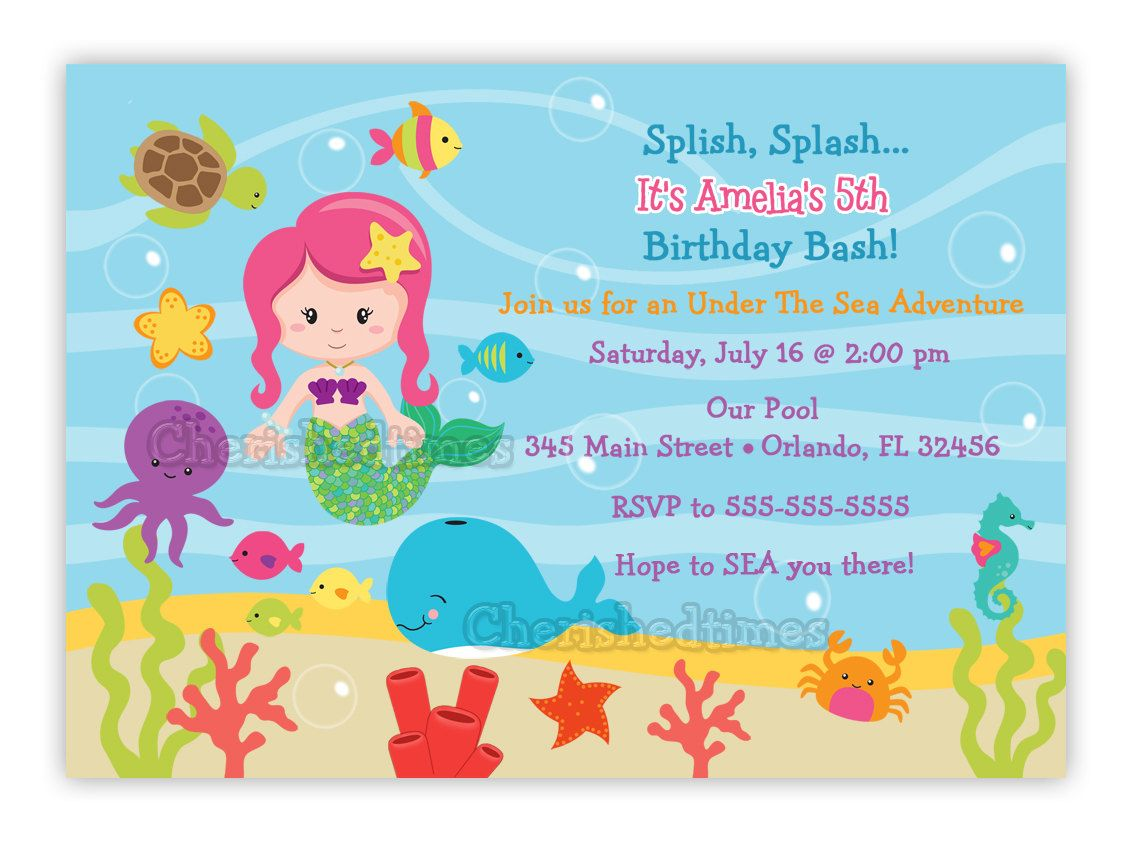 Mermaid Under The Sea Birthday Party Invitations