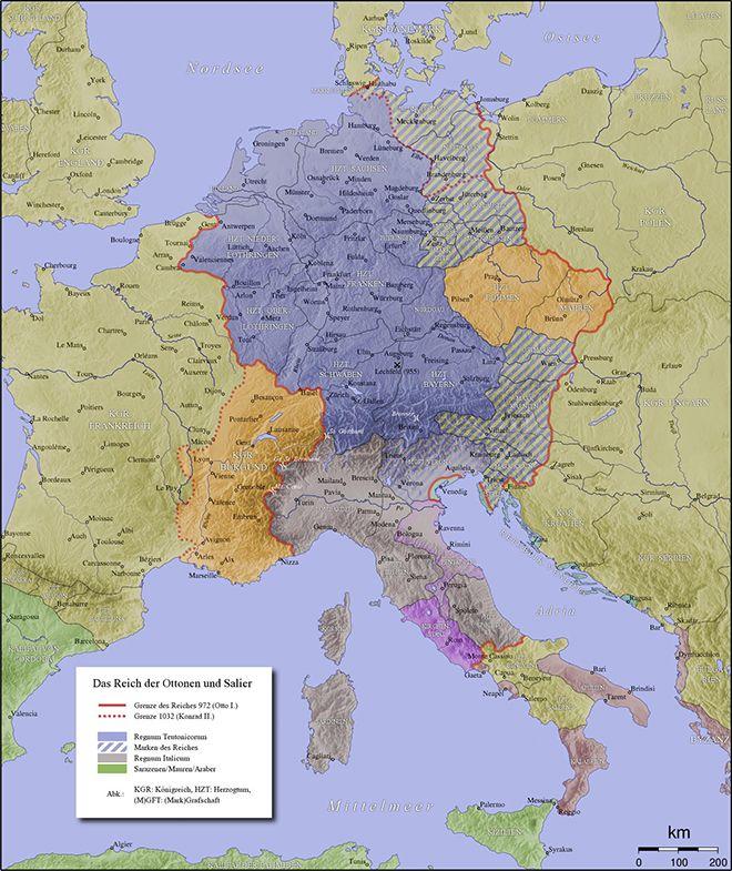 Kaart van het Heilig Roomse Rijk (11e - 12e eeuw).