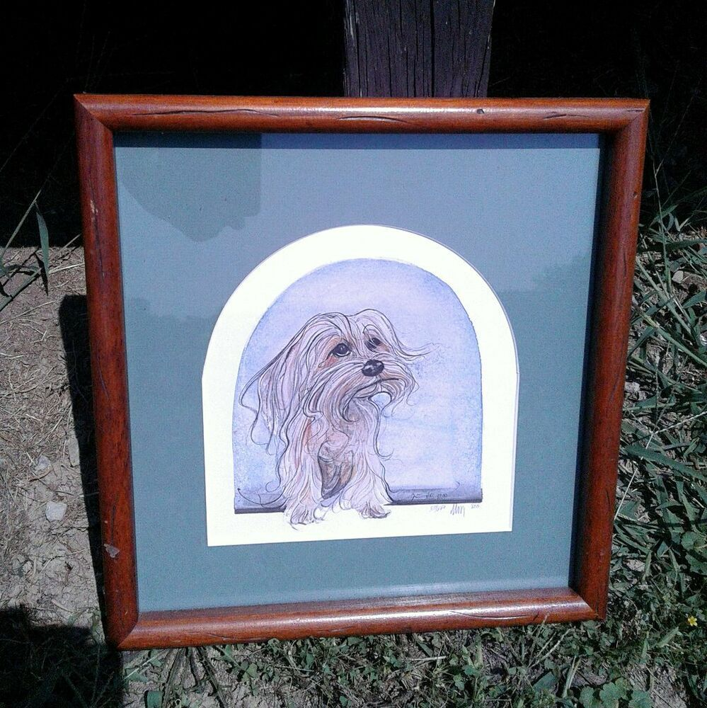 Vintage Watercolor Yorkie Dog Picture Frame, Matted and