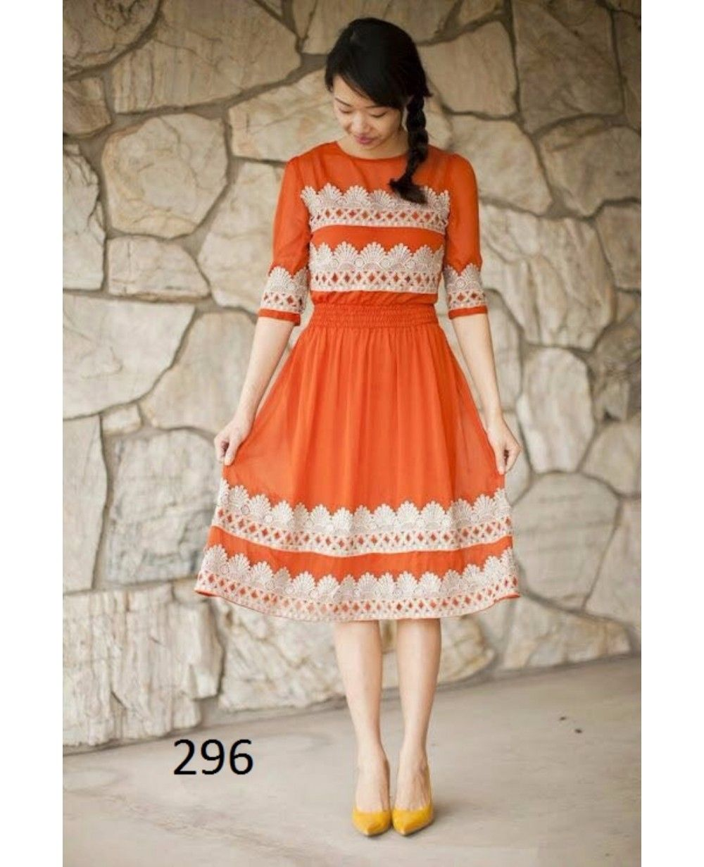 9c00aeabdac5 Buy Fency Orange Color Georgette Half Sleeves Knee Length Semi Stitched  Casual Wear Kurti Online - Kurtis   Kurtas - Ethnic Wear - Indian Wear