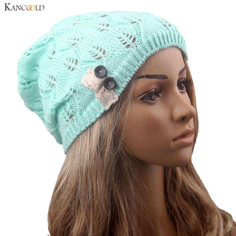 82eb6b60aa2b0 Fashion Leaves Hollow Out Lace Button Knitting Hat Women Winter Warm ...