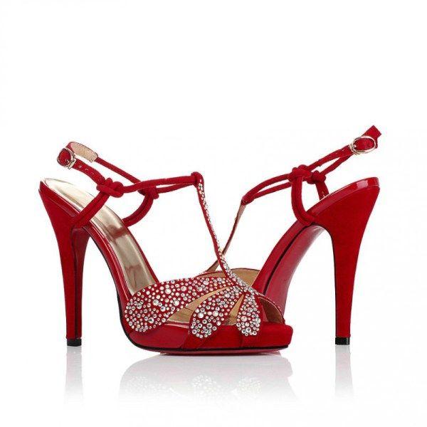 Red Ultra High Heel Wedding Shoes With Rhinestones