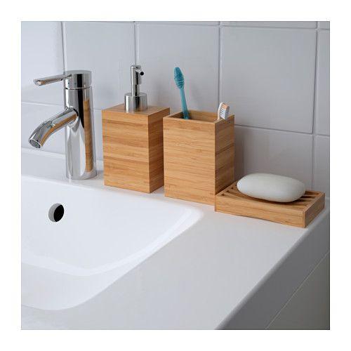 DRAGAN Zahnbürstenhalter, Bambus Ikea deutschland, Seifenspender - badezimmer bambus