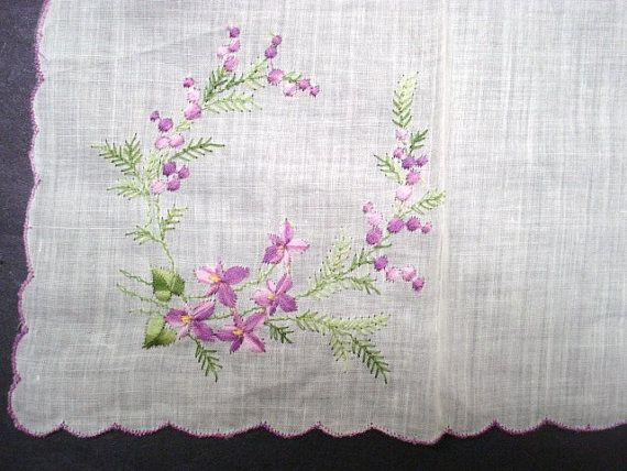 Vintage precioso bordado pañuelo pañuelo festoneado por lasadana