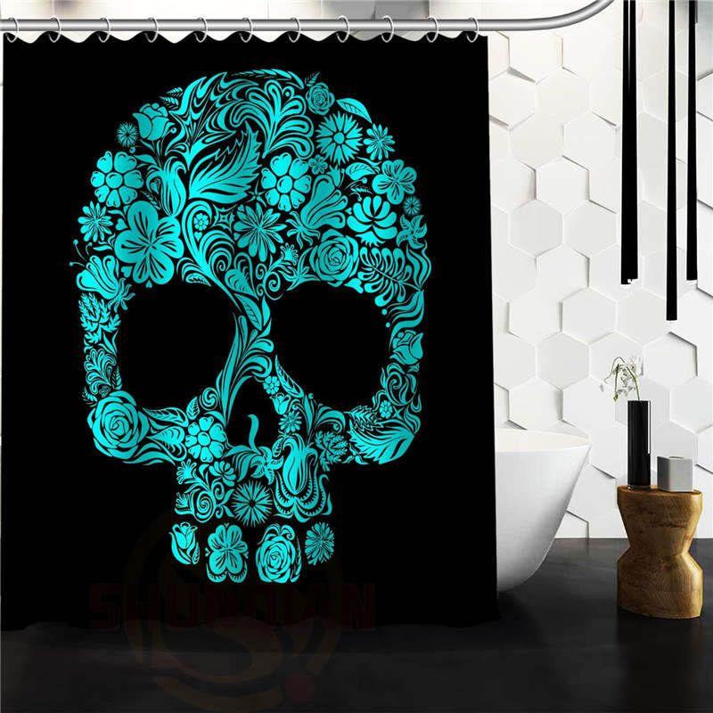 New arrive Custom Skull Shower Curtain Polyester Fabric Custom ...