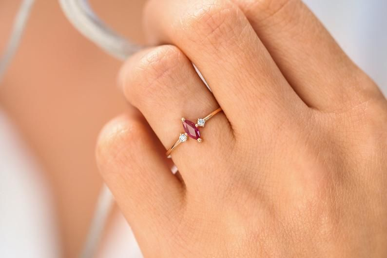 Marquise Ruby Daimond Ring Gold Ring Dainty Diamond Ring Delicate Ring, Ruby Diamond Ring 14k Gold Ring Stacking Ring Gold ring