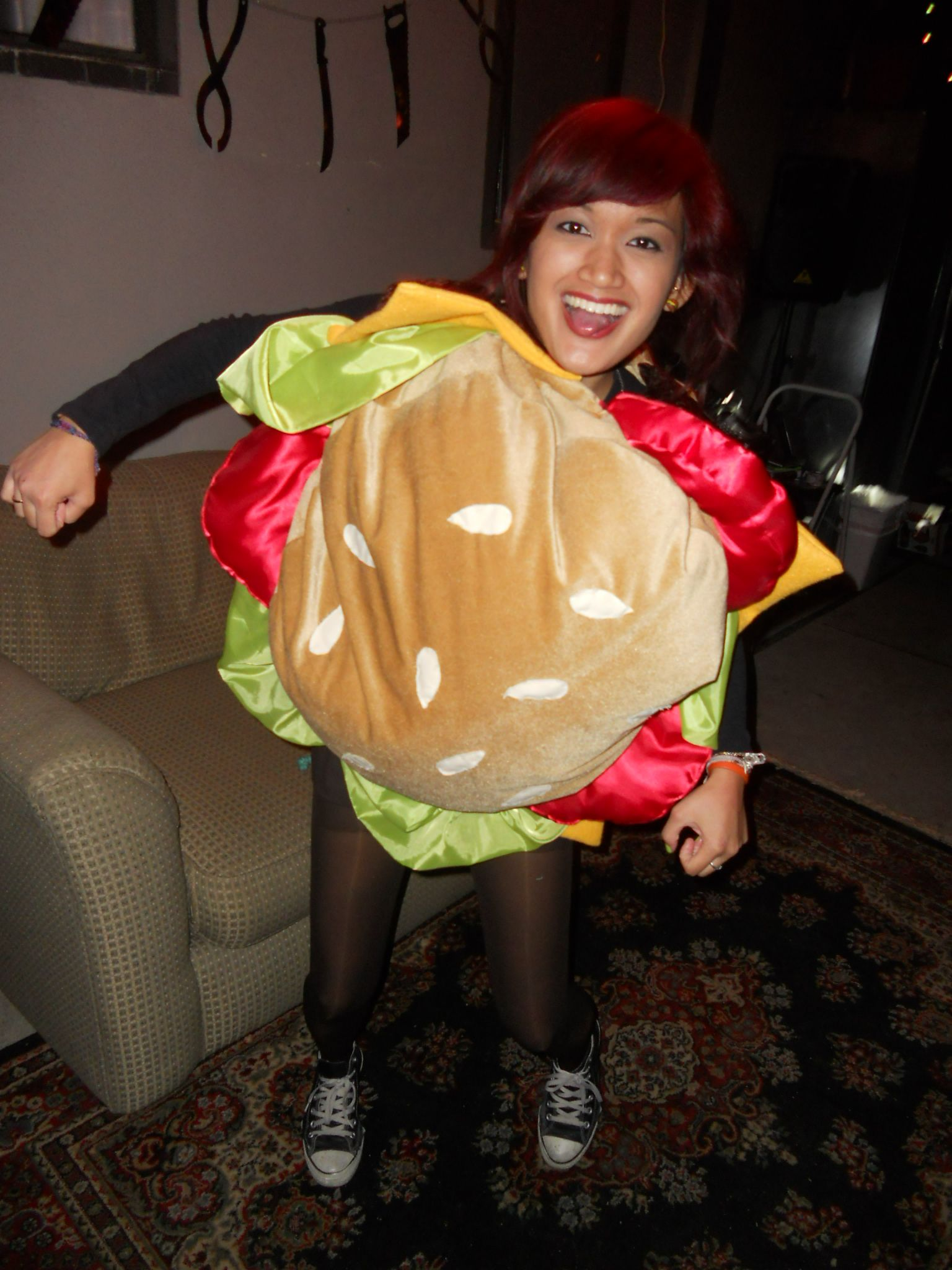 Adult Halloween Costume Hamburger Cheeseburger Pickle Cheese Burger Mens Costume Womens Costume Teen Costume Fast Food Funny McDonalds Bun r9PjS