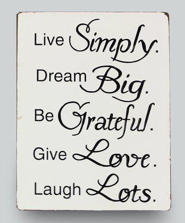 Live Simply\' Wall Sign #zulily #zulilyfinds   Vinyl   Pinterest ...