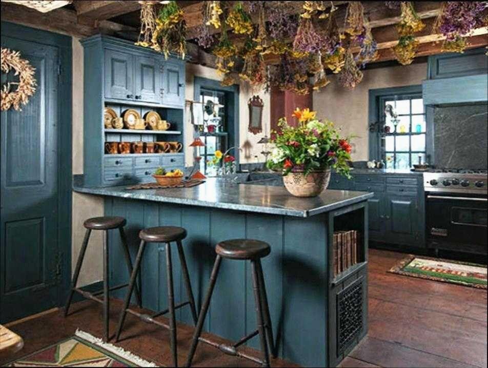 Cuisine Bleu Canard Et Bois Charmant Bleu Canard Cuisine Cheap Meuble Cuisine Bleu Cuisine De Farmhouse Kitchen Interior Rustic Kitchen Interior Design Kitchen