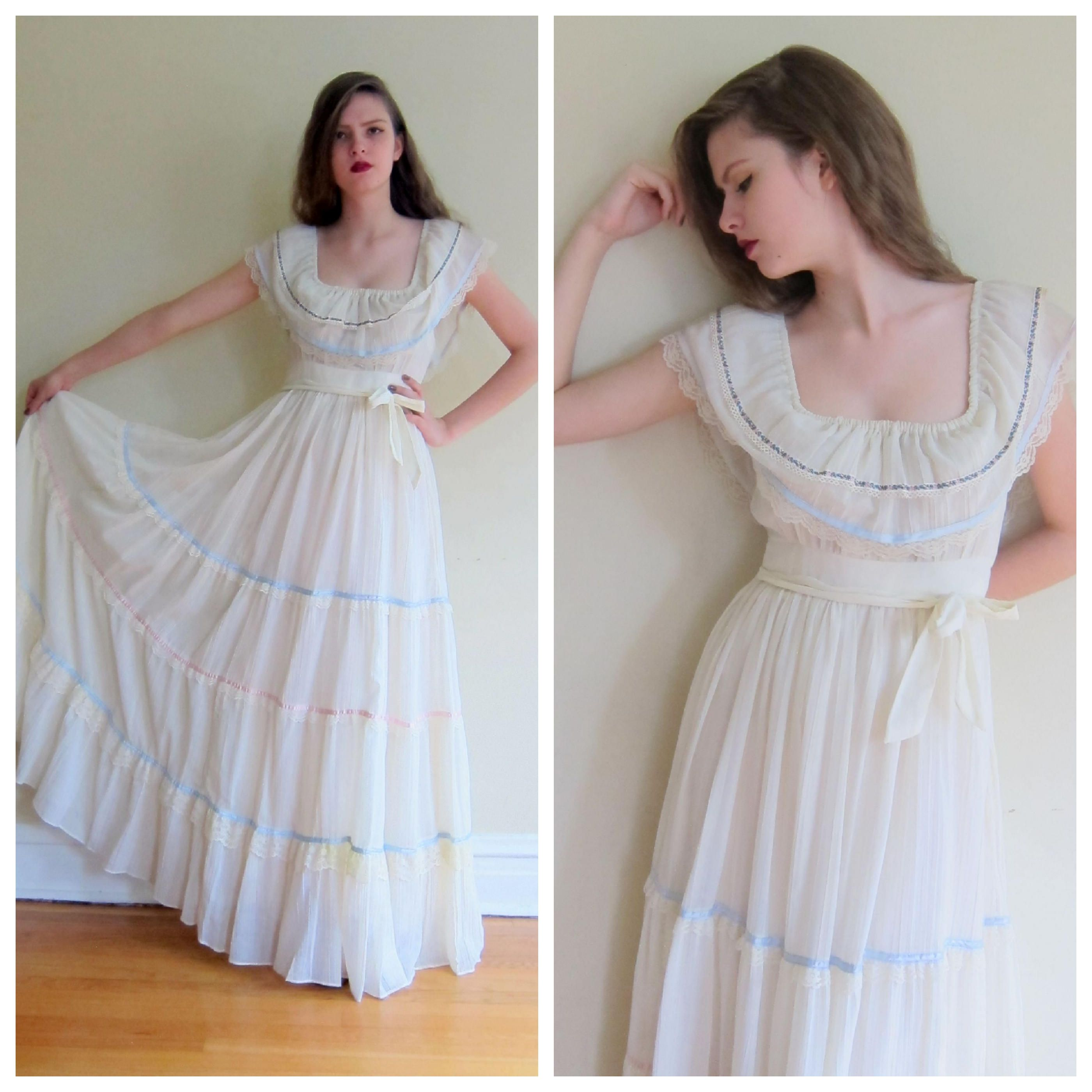 Vintage 1970s Gunne Sax Maxi Dress White With Floral Ribbon Lace Trim 70s Summer Dress With Ruffled Collar Tiered Skirt Boho Romantic Med White Maxi Dresses Summer Dresses Dresses [ 2800 x 2800 Pixel ]