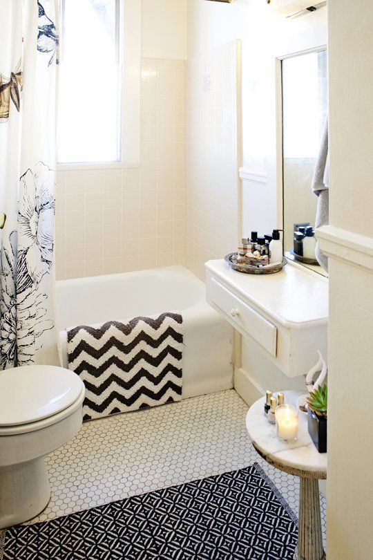 Simple Ways To Refresh Your Home Our Best Style Secrets - Black and white bath rugs for bathroom decorating ideas