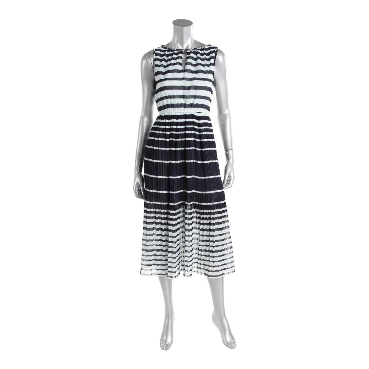 Maison Jules Womens Chiffon Striped Casual Dress