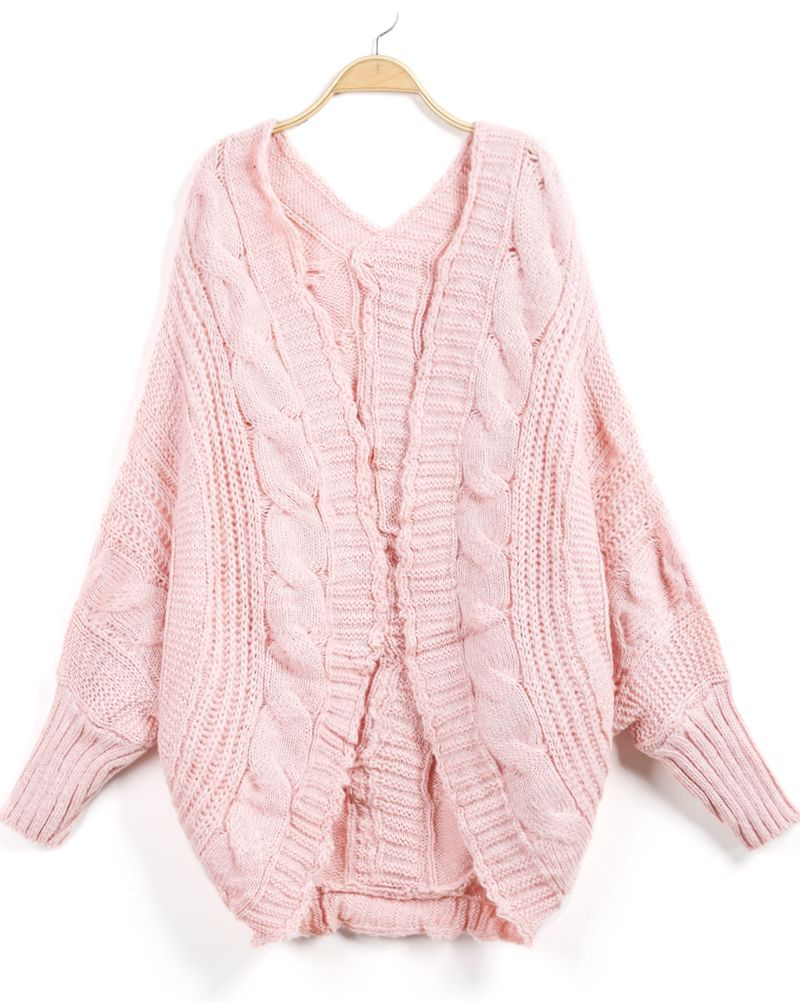 Shop Pink Long Sleeve Cable Knit Loose Cardigan online. Sheinside ...
