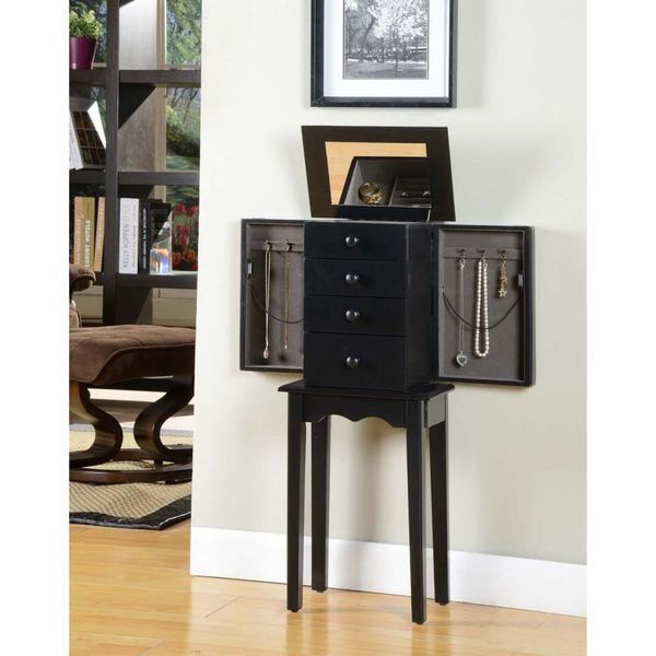 black jewelry armoire accent furniture 3 drawer wooden cabinet end