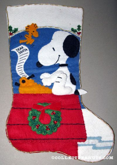 snoopy typing letter to santa with woodstock felt stocking - Snoopy Christmas Stocking
