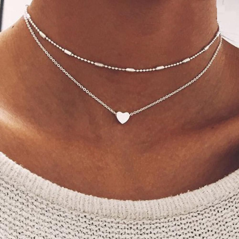 Simple Gold Color Love Heart Choker Necklace For Women Multi Layer