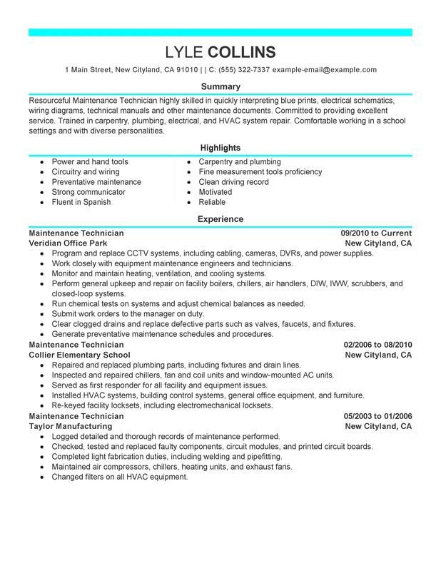Resume For Maintenance Maintenance Technician Resume Example  Myperfectresume  Resumes