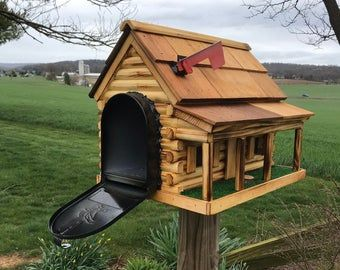 Photo of Wooden Log Cabin Mailbox   Unique Outdoor Decor   Amish Made   CL620