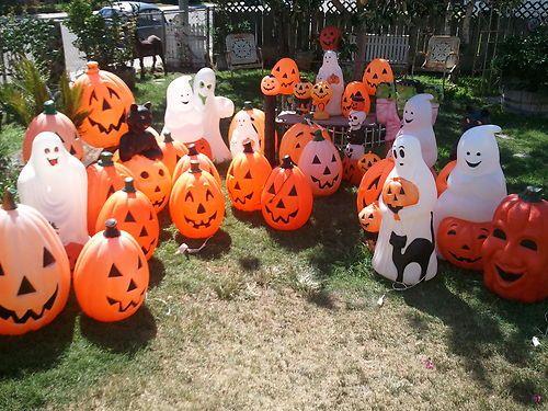 Vtg HUGE Lot 37 Plastic HALLOWEEN Empire Blow Mold Ghost Black Cat - menards halloween decorations