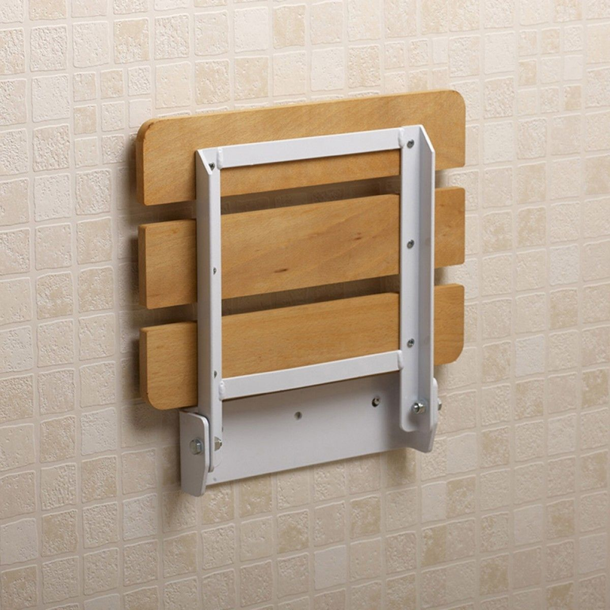 Small Bathroom Spaces With Wood Wall Mounted Folding Shower Seats