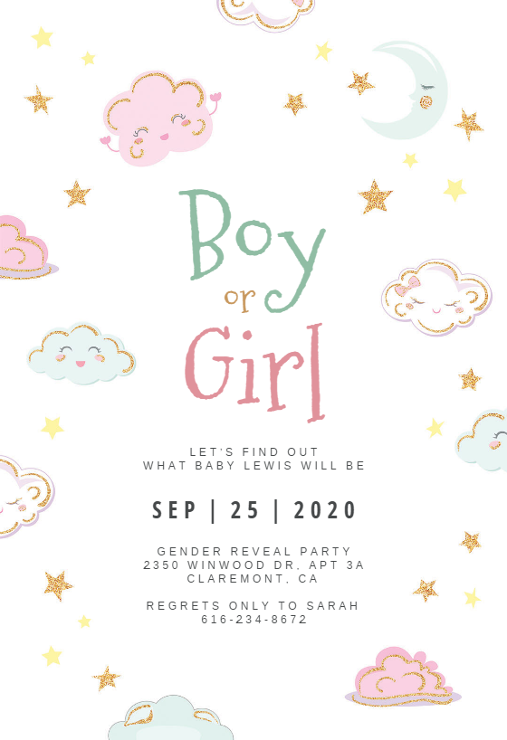 Sparkly Clouds Gender Reveal Invitation Template Free Greetings Island Gender Reveal Invitations Template Gender Reveal Invitations Gender Reveal Invitations Printable