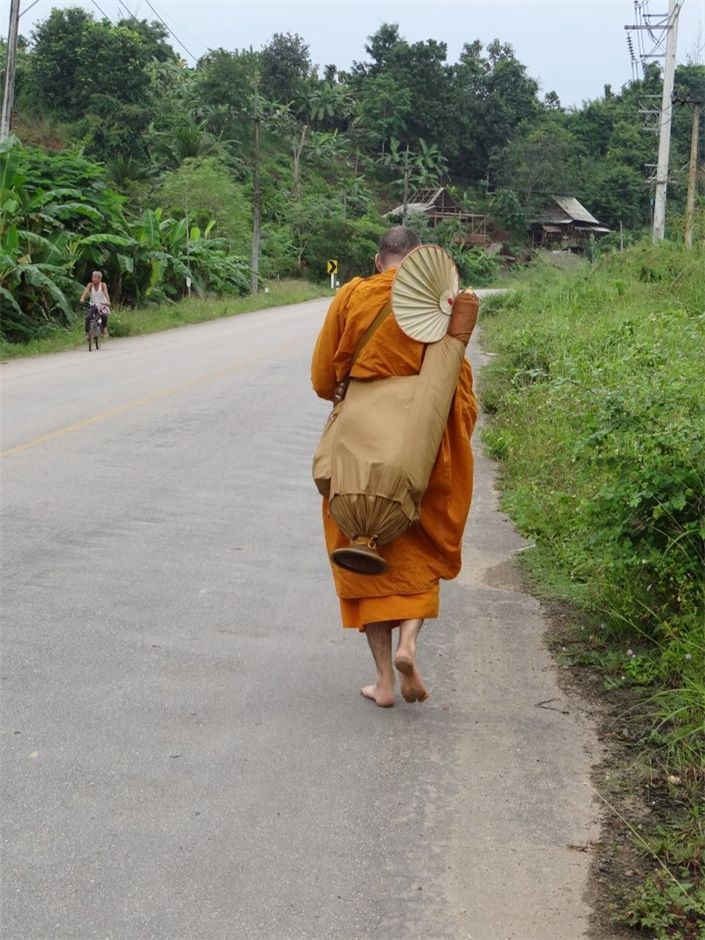 Wandering monk: Nanadhaja Bhikku walks barefooted in Fang, a district in northern part of Chiang Mai province, northern Thailand, two years ago.