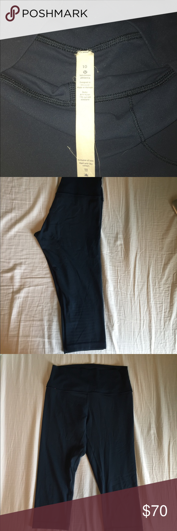 LuLu Lemon Align Crop - Size 10 Selling because I no longer fit into them. Worn maybe 4 times. Love the color of them, it's a dark blue. On the lower left leg there is a tiny hole, I snagged it on my car.  Other than that, LOVE the fit of them and they've been a great legging! lululemon athletica Pants Ankle & Cropped