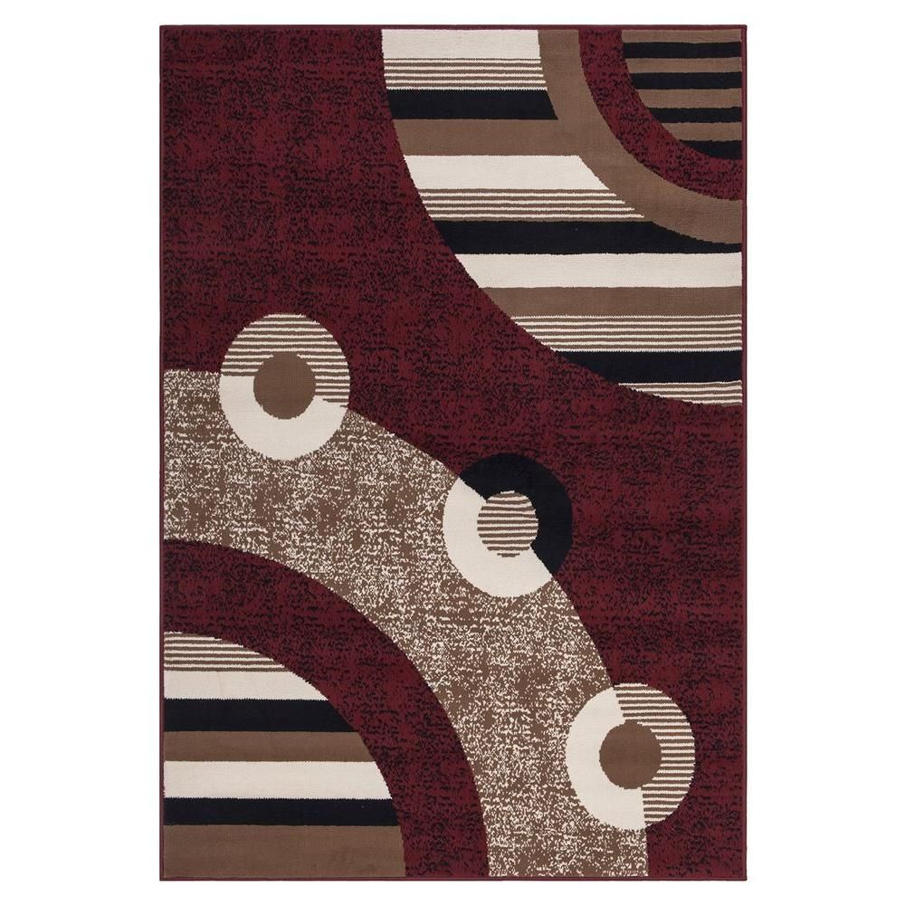 Sweet Home S Clifton Collection Modern Circles Design Red 7 Ft 10 In X 9 Area Rug Bcf1520 8x10 The Depot