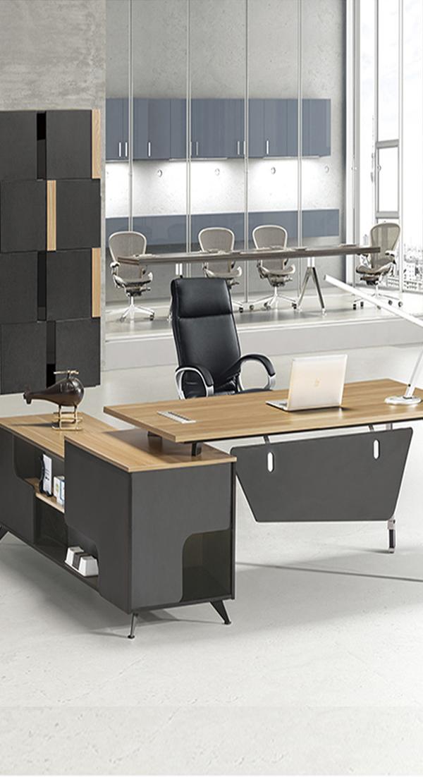 Escritorio ejecutivo tonos madera y negro escritorio de - Escritorios de madera para oficina ...