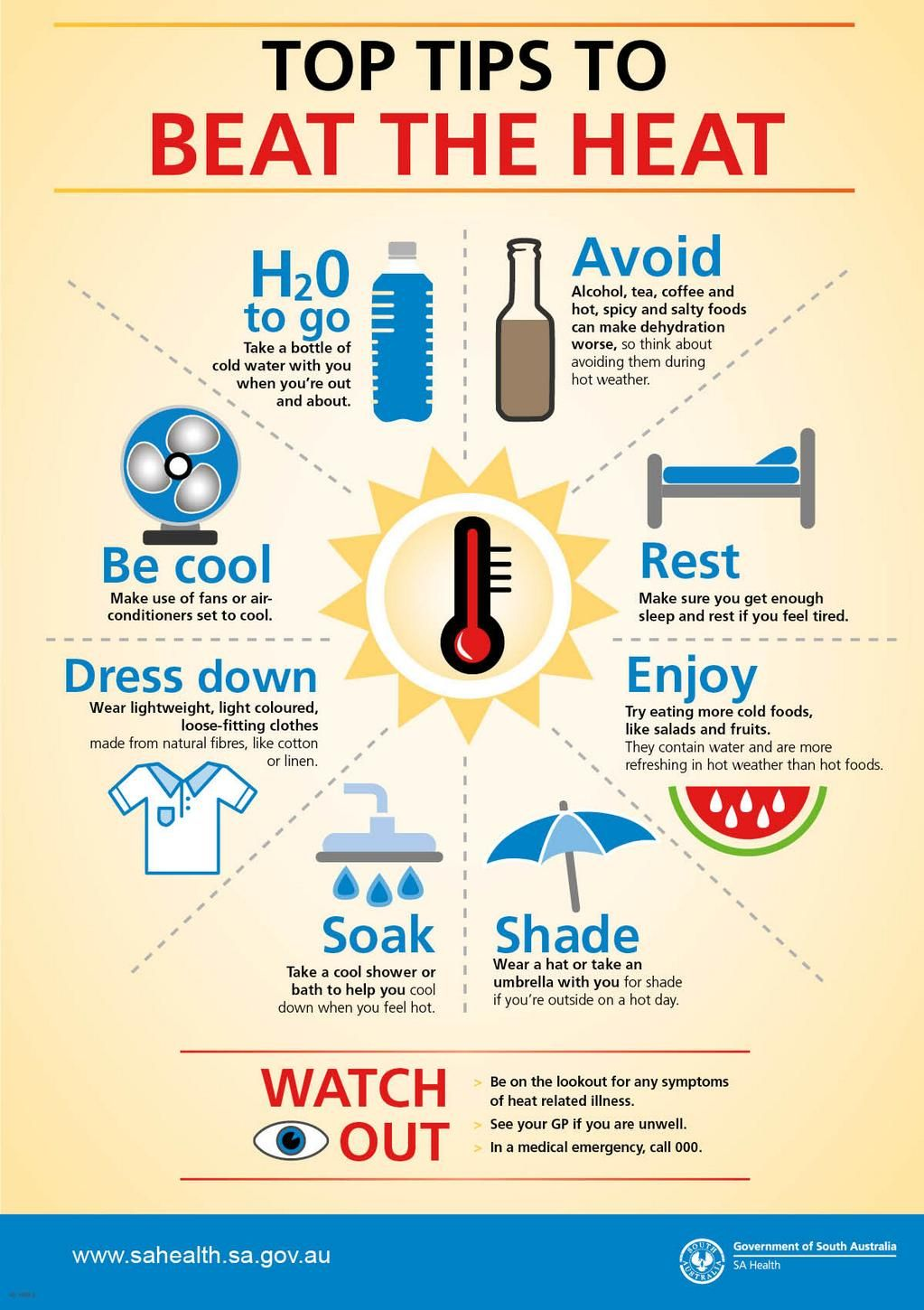 Beat the heat SA Health Workplace safety tips, Health