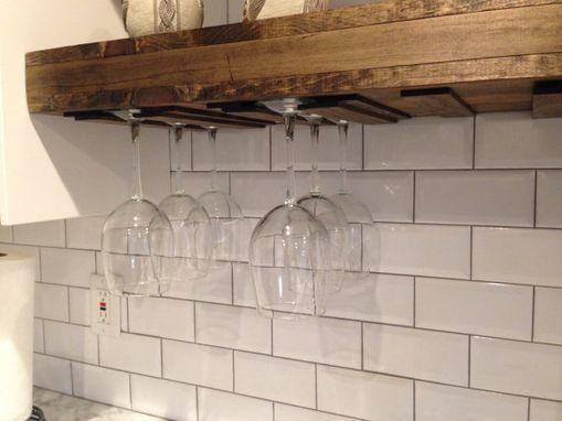 Custom Made Floating Shelf With A Wine Gl Rack Farmhouse Rustic Shelves