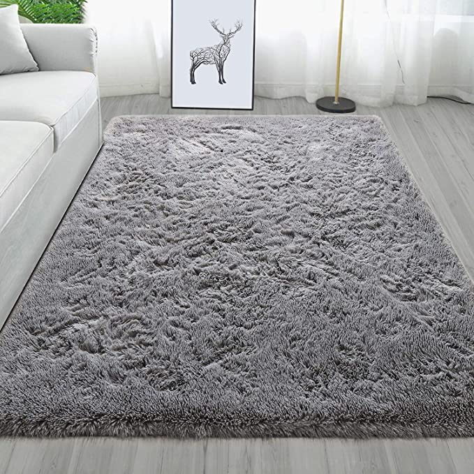 Amazon Com Maxsoft Fluffy Gray Rug For Bedroom Modern Shag Area Rug For Living Room 4 X 6 Feet Fuzzy Carpet For G In 2020 Rugs In Living Room Rugs Modern Shag Rugs