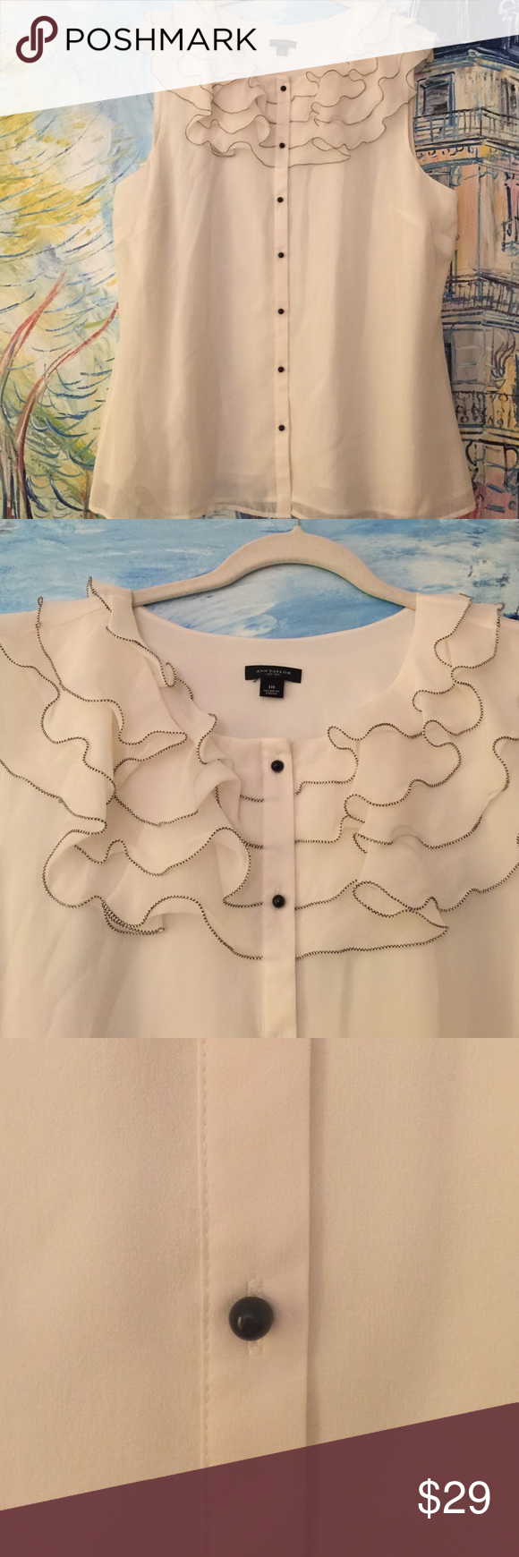 Ruffled Top Sleeveless Blouse Ruffled Top Sleeveless Blouse; sheer with lining underneath; 100% Silk. Ann Taylor Tops Blouses