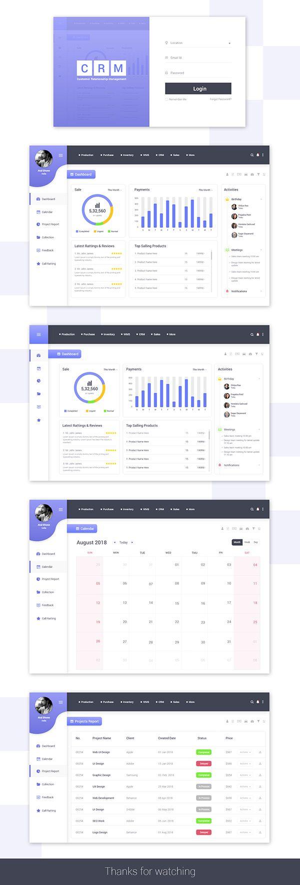 Web UI Dashboard Design for CRM on Behance #interfacedesign