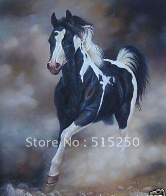Fine Black White Color Horse Repro Oil Painting Canvas FramedChina