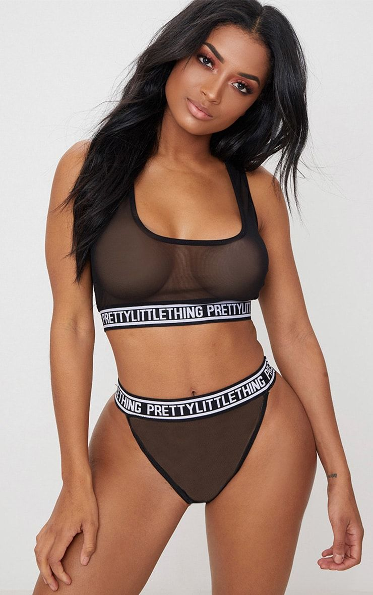 4adc1c094ced3 Black Prettylittlething Mesh High Waisted Thong